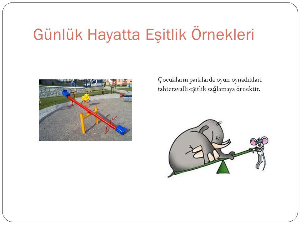 Günlük Hayatta Eşitlik Örnekleri Çocukların parklarda oyun oynadıkları tahteravalli e ş itlik sa ğ lamaya örnektir.