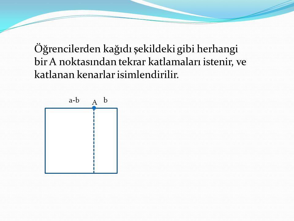 Öğrencilerden kağıdı şekildeki gibi herhangi bir A noktasından tekrar katlamaları istenir, ve katlanan kenarlar isimlendirilir. a-bb A.