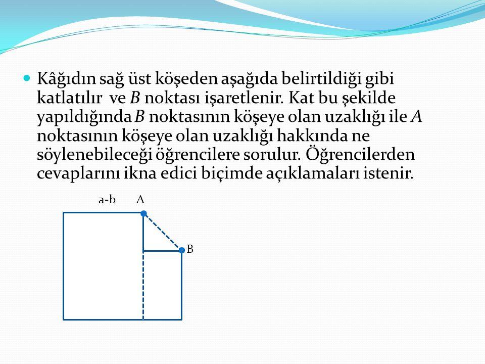 Kâğıdın sağ üst köşeden aşağıda belirtildiği gibi katlatılır ve B noktası işaretlenir. Kat bu şekilde yapıldığında B noktasının köşeye olan uzaklığı i