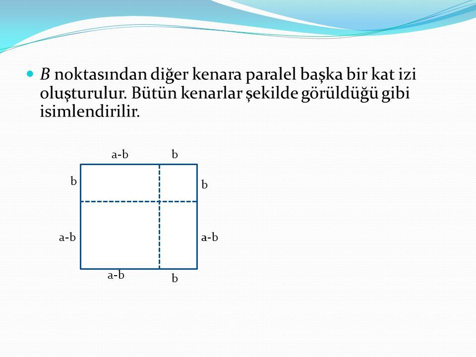 B noktasından diğer kenara paralel başka bir kat izi oluşturulur. Bütün kenarlar şekilde görüldüğü gibi isimlendirilir. a-bb b a b b