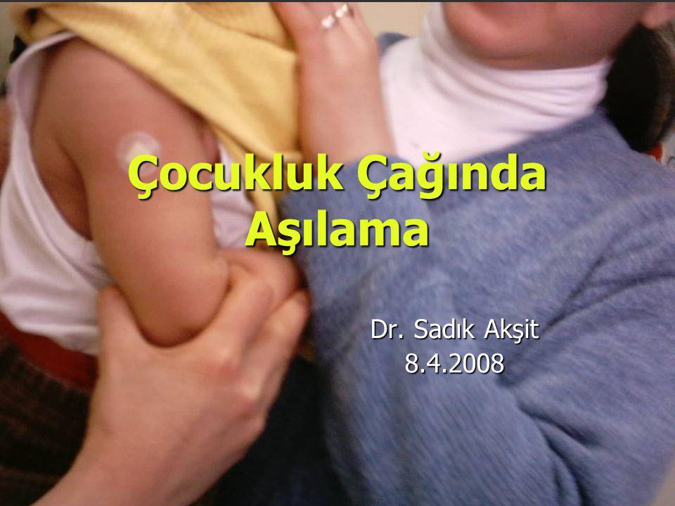 Çocukluk Çağında Aşılama Dr. Sadık Akşit 8.4.2008