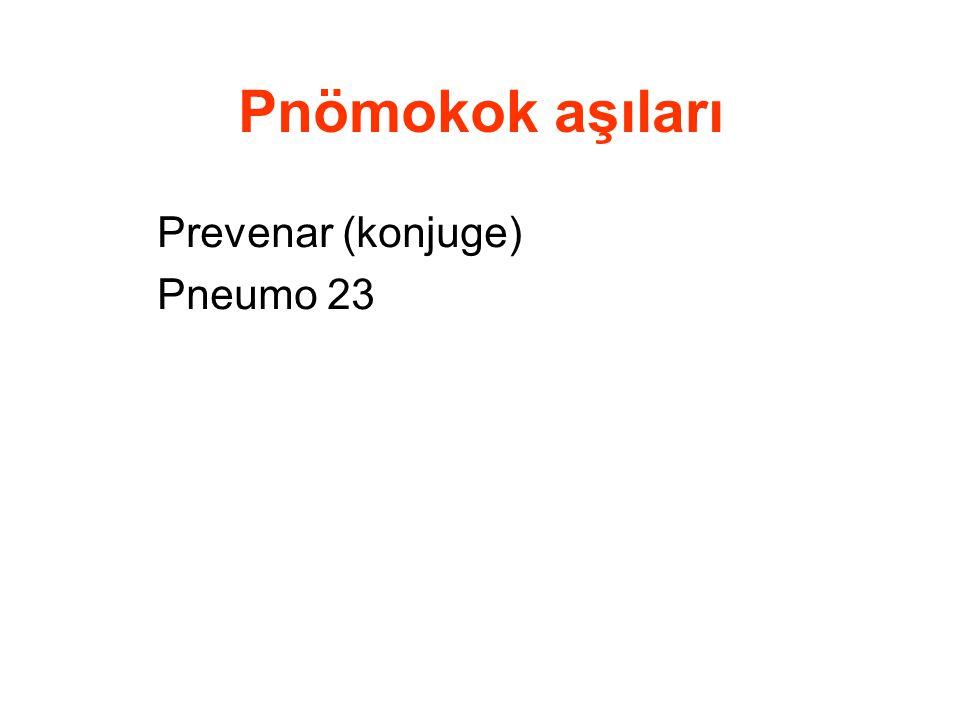 Pnömokok aşıları Prevenar (konjuge) Pneumo 23