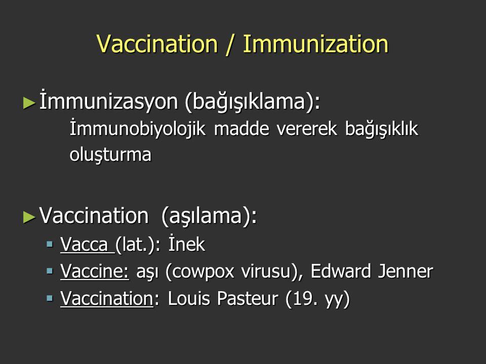 Vaccination / Immunization ► İmmunizasyon (bağışıklama): İmmunobiyolojik madde vererek bağışıklık oluşturma ► Vaccination (aşılama):  Vacca (lat.): İ