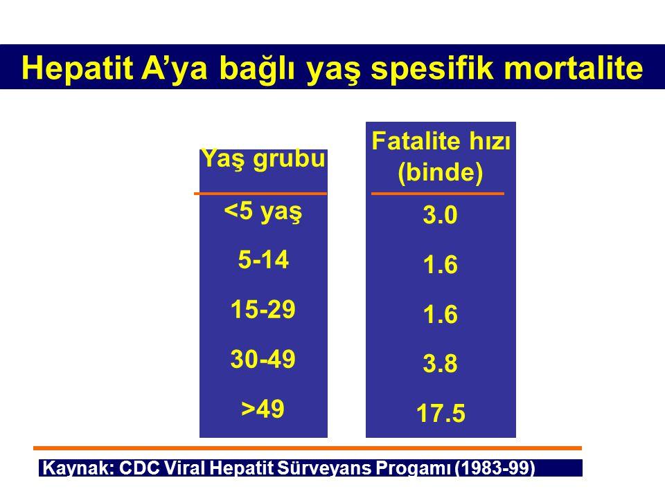 Hepatit A'ya bağlı yaş spesifik mortalite Yaş grubu <5 yaş 5-14 15-29 30-49 >49 Fatalite hızı (binde) 3.0 1.6 3.8 17.5 Kaynak: CDC Viral Hepatit Sürve