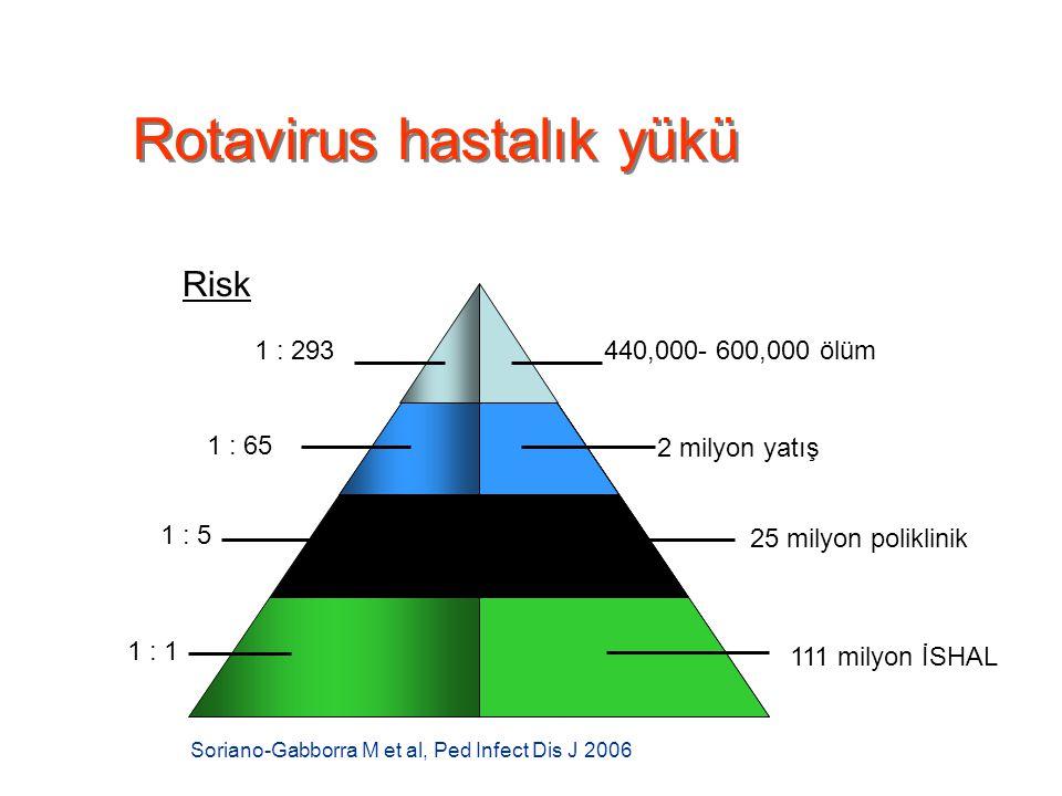 Rotavirus hastalık yükü Soriano-Gabborra M et al, Ped Infect Dis J 2006 25 milyon poliklinik 111 milyon İSHAL 1 : 293 1 : 65 Risk 440,000- 600,000 ölü