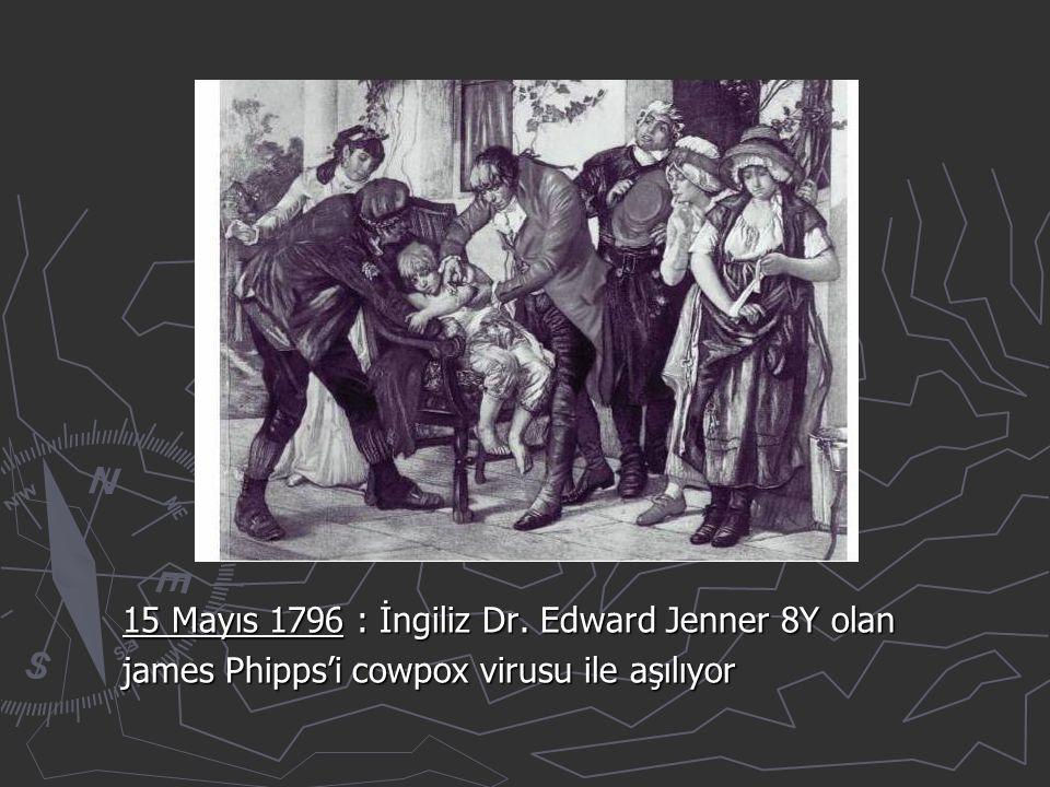 15 Mayıs 1796 : İngiliz Dr. Edward Jenner 8Y olan james Phipps'i cowpox virusu ile aşılıyor