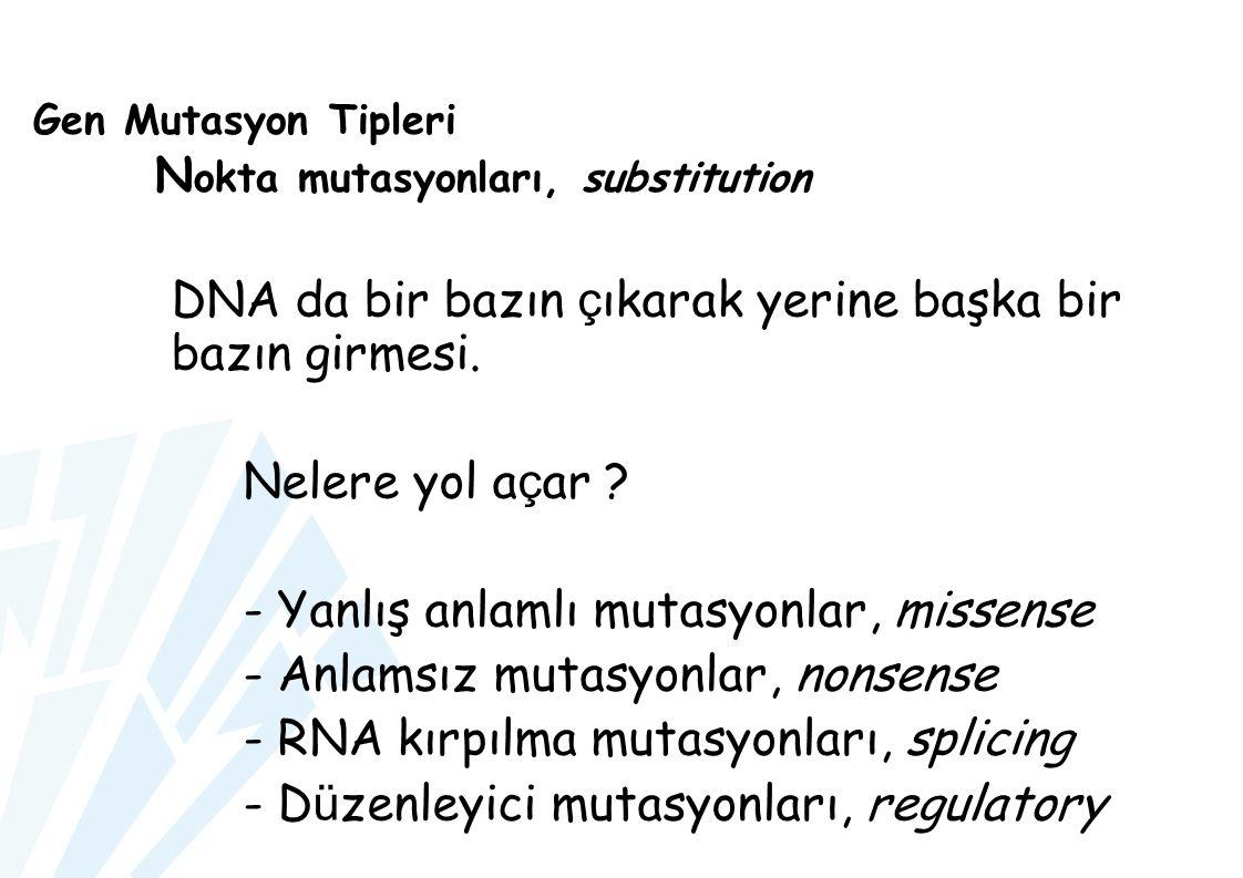 Gen Mutasyon Tipleri N okta mutasyonları, substitution DNA da bir bazın ç ıkarak yerine başka bir bazın girmesi. Nelere yol a ç ar ? - Yanlış anlamlı