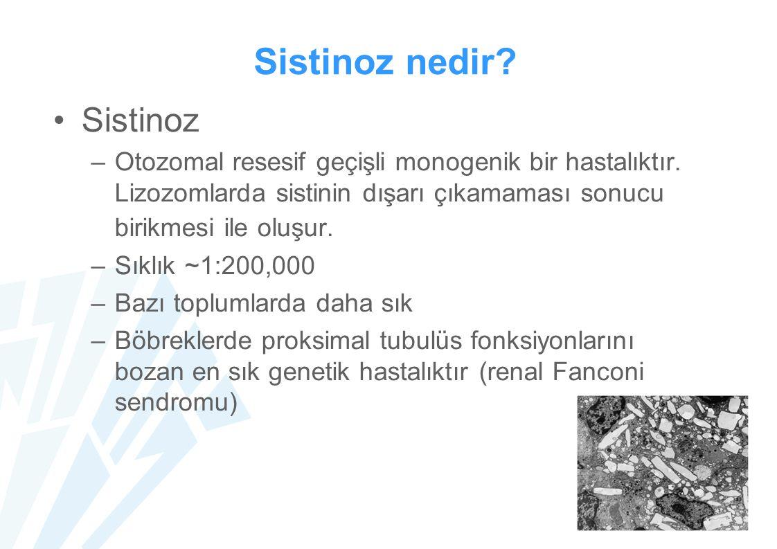 Sistinoz nedir? Sistinoz –Otozomal resesif geçişli monogenik bir hastalıktır. Lizozomlarda sistinin dışarı çıkamaması sonucu birikmesi ile oluşur. –Sı