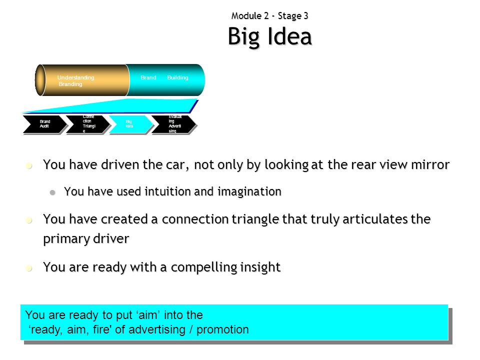 Module 2 - Stage 3 Big Idea Understanding Branding Brand Building Evaluat ing Adverti sing Big Idea Conne ction Triangl e Brand Audit You have driven