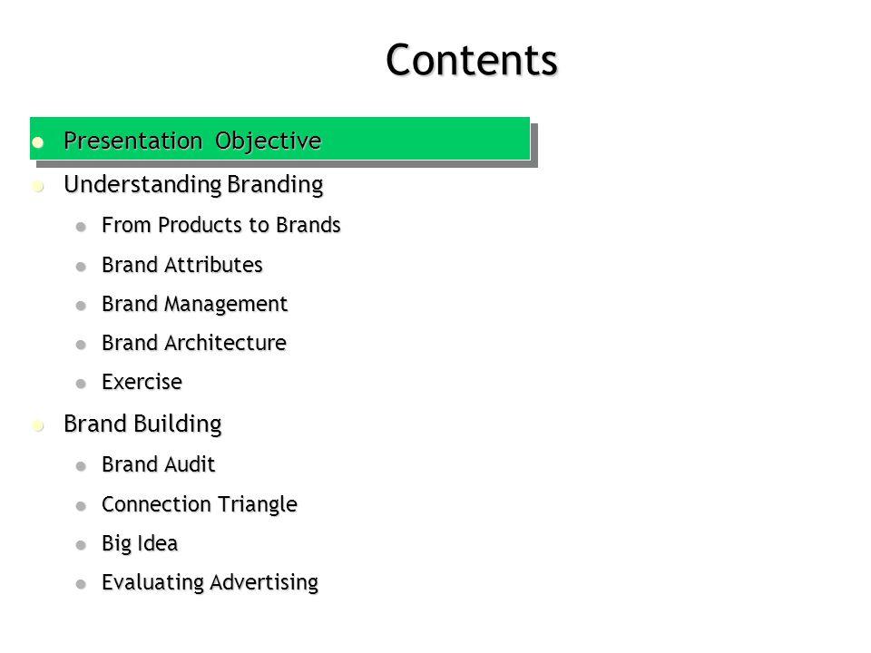 Contents Presentation Objective Presentation Objective Understanding Branding Understanding Branding From Products to Brands From Products to Brands B