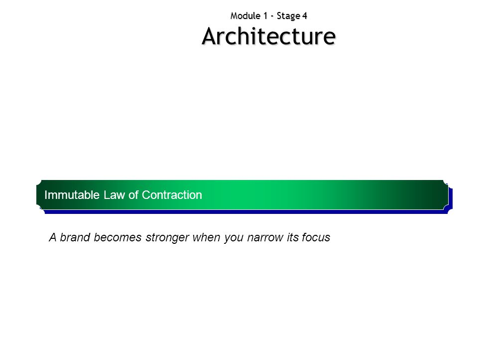 Module 1 - Stage 4 Architecture Immutable Law of Contraction A brand becomes stronger when you narrow its focus