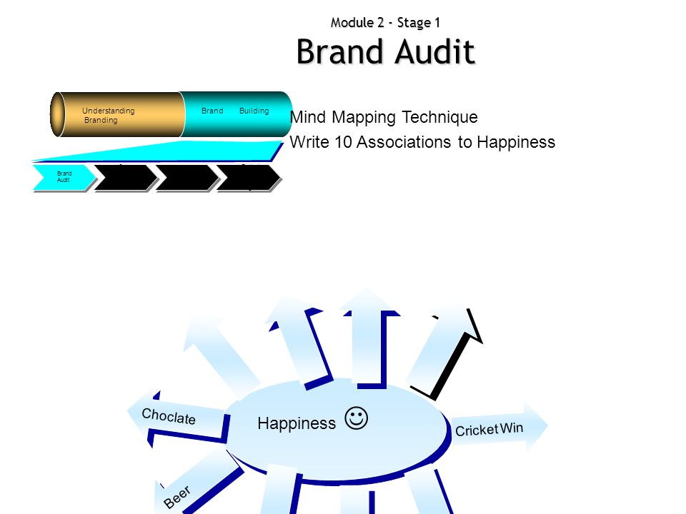Module 2 - Stage 1 Brand Audit Understanding Branding Brand Building Evaluat ing Adverti sing Big Idea Conne ction Triangl e Brand Audit Happiness Cho