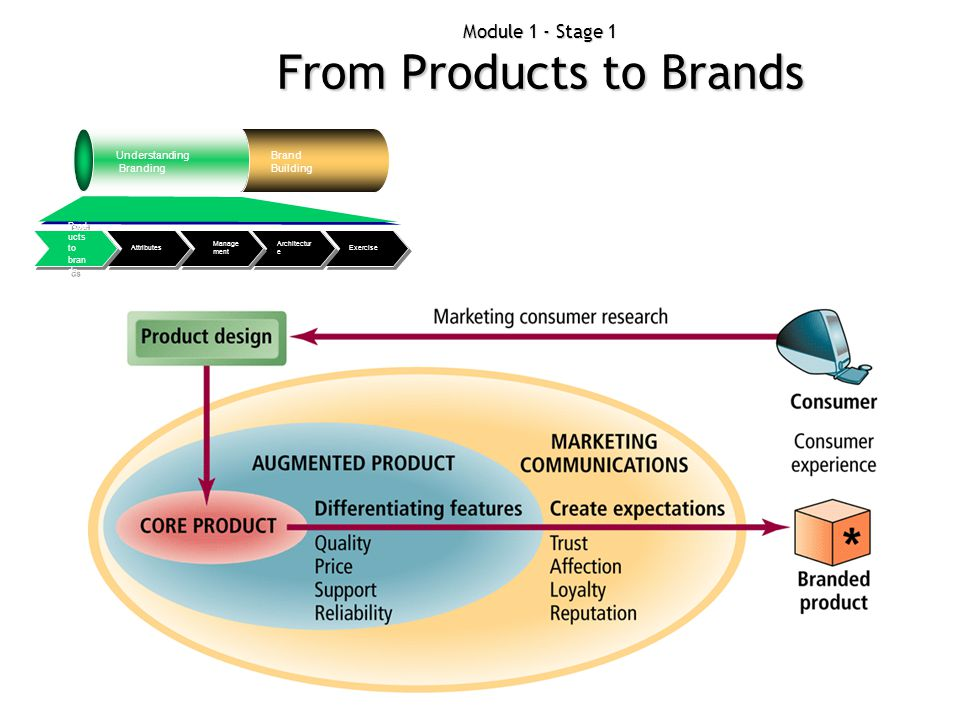 Module 1 - Stage 1 From Products to Brands Understanding Branding Brand Building Exercise Architectur e Manage ment Attributes Prod ucts to bran ds