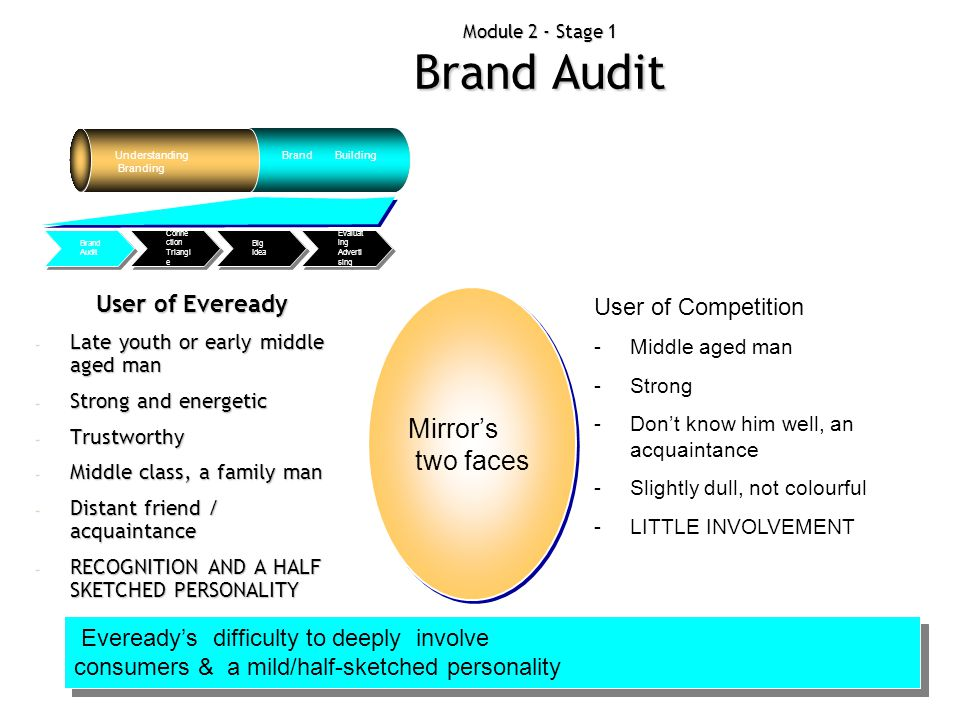 Module 2 - Stage 1 Brand Audit Understanding Branding Brand Building Evaluat ing Adverti sing Big Idea Conne ction Triangl e Brand Audit Example: Pers