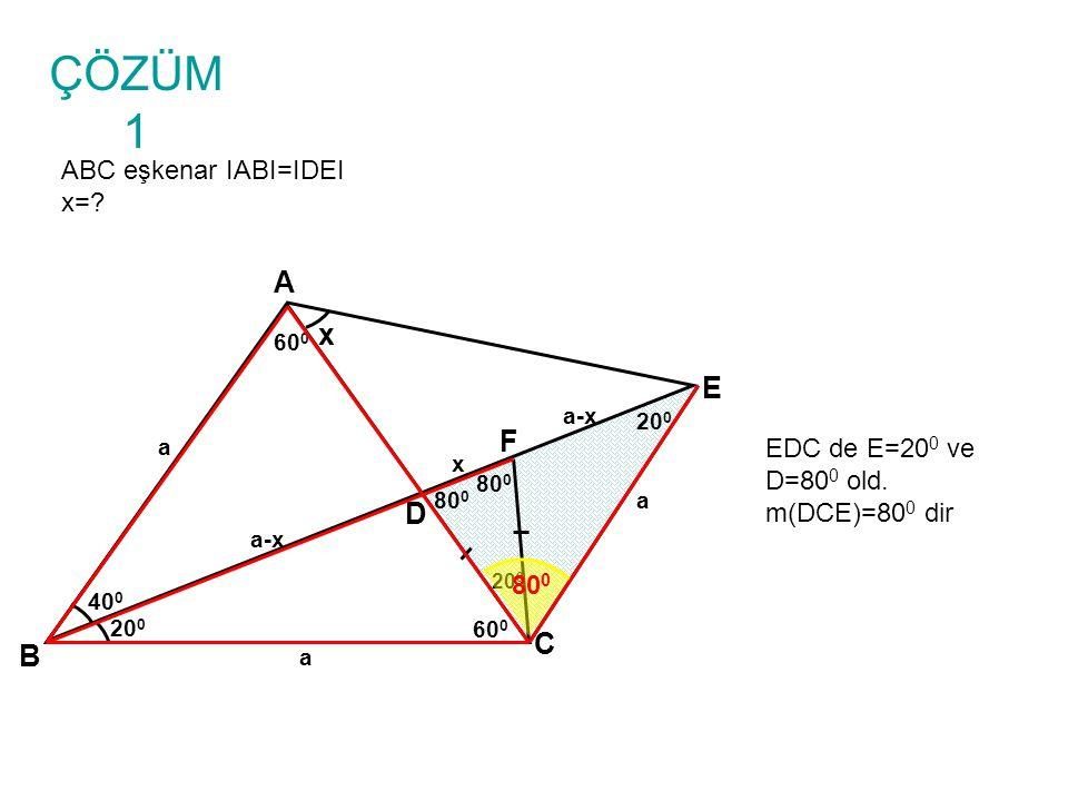 ÇÖZÜM 1 ABC eşkenar IABI=IDEI x=.B A C D x 40 0 20 0 E 60 0 IACI=ICEI old.