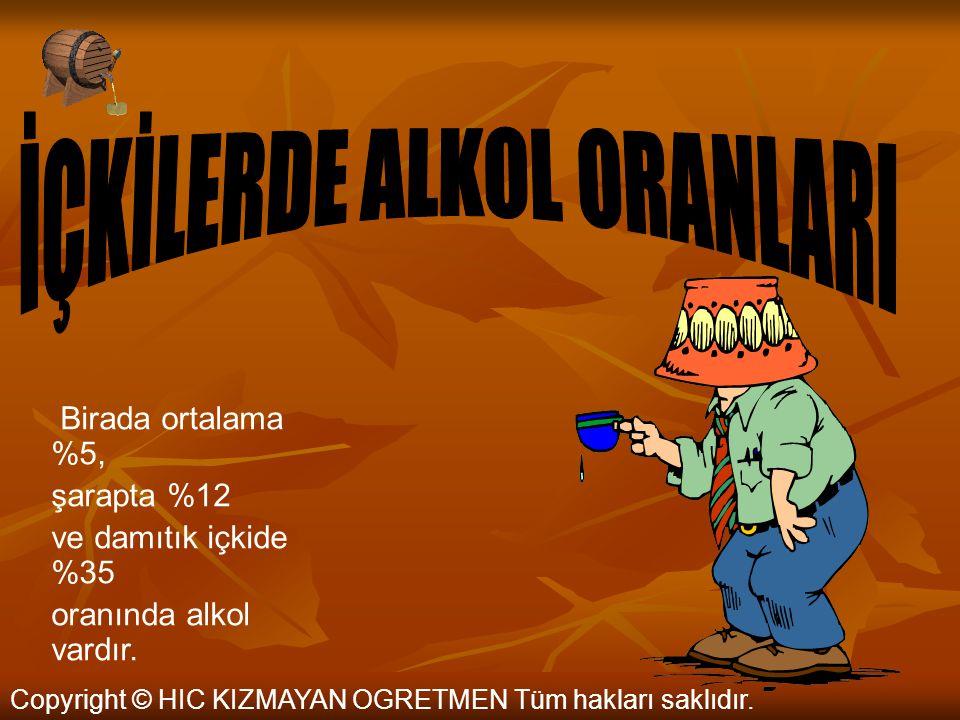 Copyright © HIC KIZMAYAN OGRETMEN Tüm hakları saklıdır. Saf alkol renksiz, berrak ve hemen hemen tatsız bir sıvıdır. Alkol - özellikle ölçüsüz kullanı