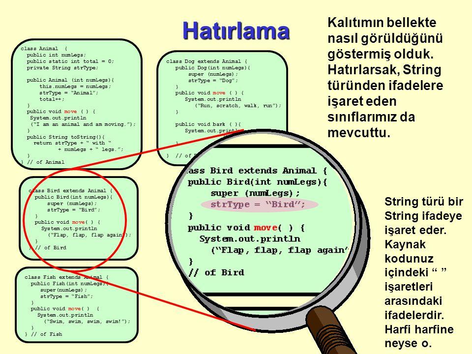 Hatırlama class Animal { public int numLegs; public static int total = 0; private String strType; public Animal (int numLegs){ this.numLegs = numLegs;