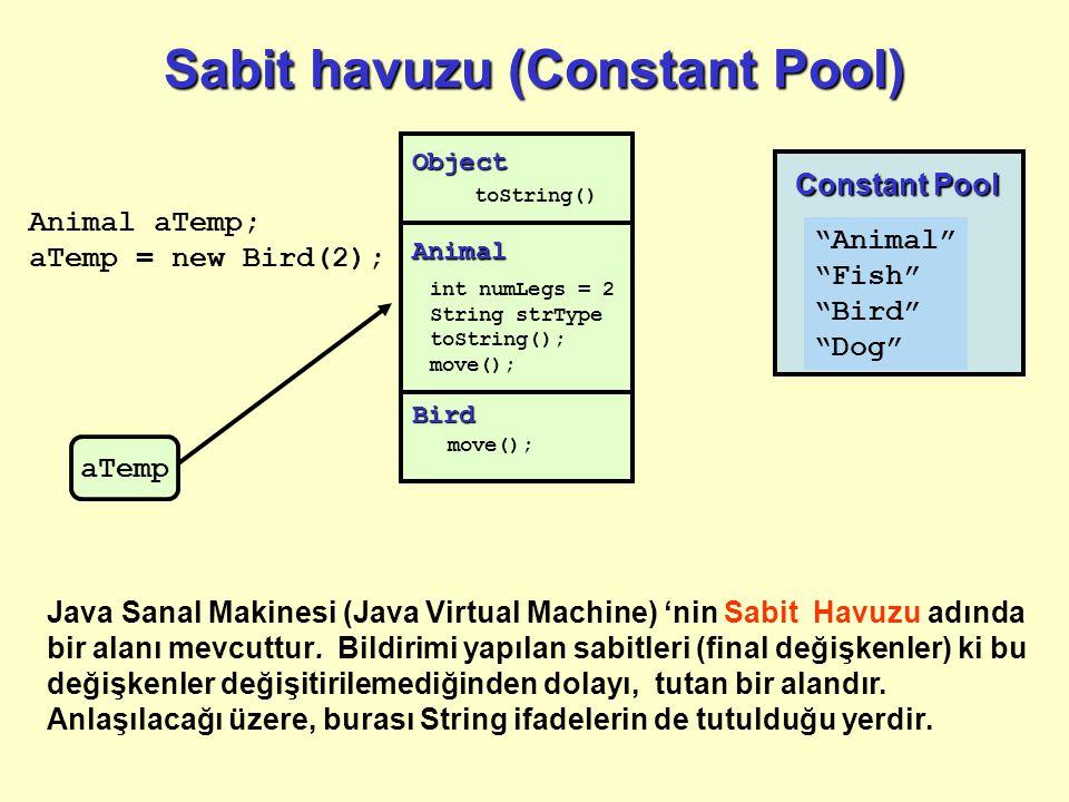 Sabit havuzu (Constant Pool). Java Sanal Makinesi (Java Virtual Machine) 'nin Sabit Havuzu adında bir alanı mevcuttur. Bildirimi yapılan sabitleri (fi