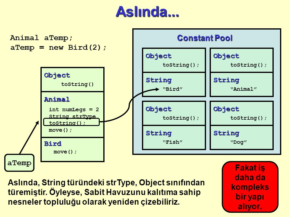 Object toString() Bird move(); Animal int numLegs = 2 String strType toString(); move(); Aslında...