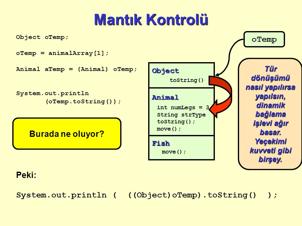 Mantık Kontrolü Object toString() Fish move(); Animal int numLegs = 3 String strType toString(); move(); Object oTemp; oTemp = animalArray[1]; Animal aTemp = (Animal) oTemp; System.out.println (oTemp.toString()); oTemp Peki: System.out.println ( ((Object)oTemp).toString() ); Burada ne oluyor.