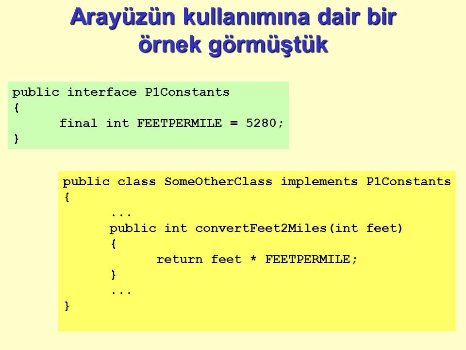 Arayüzün kullanımına dair bir örnek görmüştük public interface P1Constants { final int FEETPERMILE = 5280; } public class SomeOtherClass implements P1