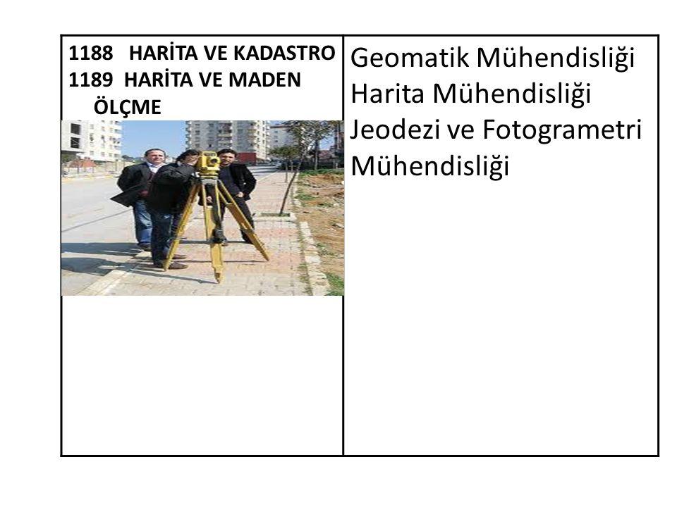 1188 HARİTA VE KADASTRO 1189 HARİTA VE MADEN ÖLÇME Geomatik Mühendisliği Harita Mühendisliği Jeodezi ve Fotogrametri Mühendisliği