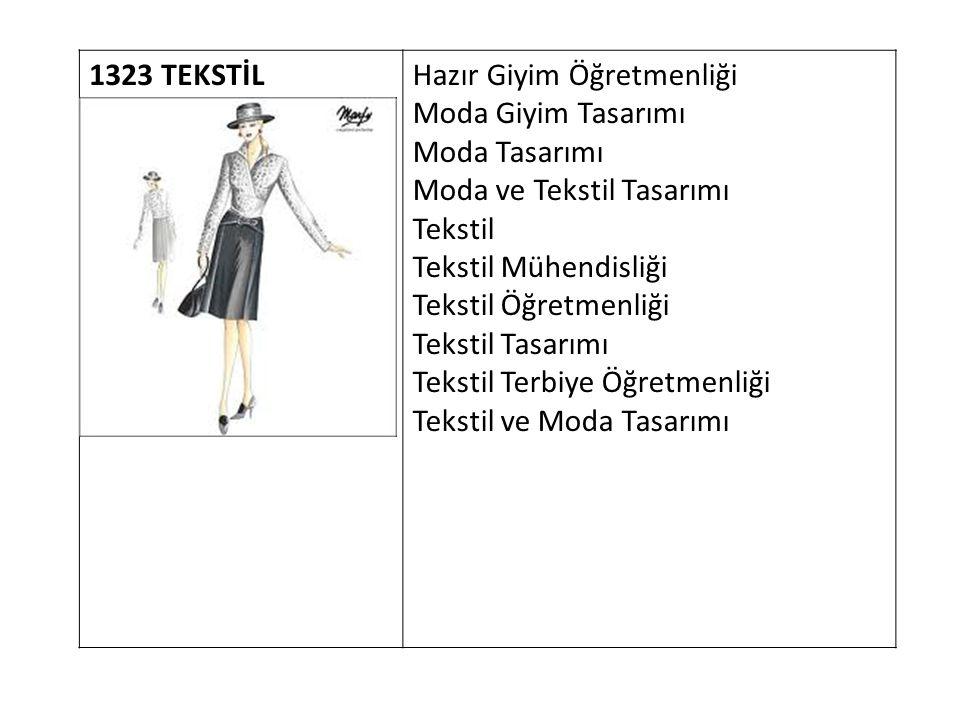 1323 TEKSTİL Hazır Giyim Öğretmenliği Moda Giyim Tasarımı Moda Tasarımı Moda ve Tekstil Tasarımı Tekstil Tekstil Mühendisliği Tekstil Öğretmenliği Tek