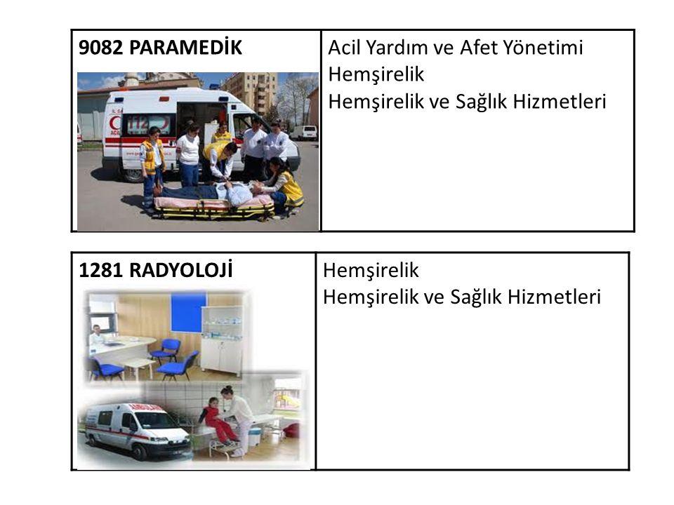 9082 PARAMEDİK Acil Yardım ve Afet Yönetimi Hemşirelik Hemşirelik ve Sağlık Hizmetleri 1281 RADYOLOJİ Hemşirelik Hemşirelik ve Sağlık Hizmetleri