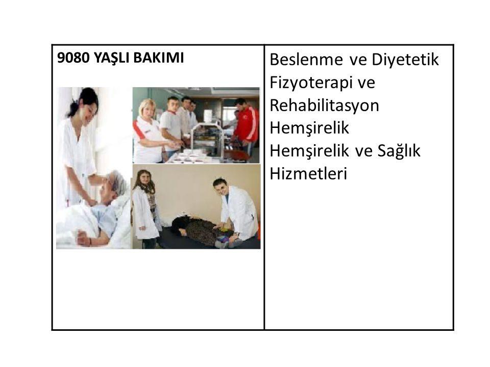 9080 YAŞLI BAKIMI Beslenme ve Diyetetik Fizyoterapi ve Rehabilitasyon Hemşirelik Hemşirelik ve Sağlık Hizmetleri
