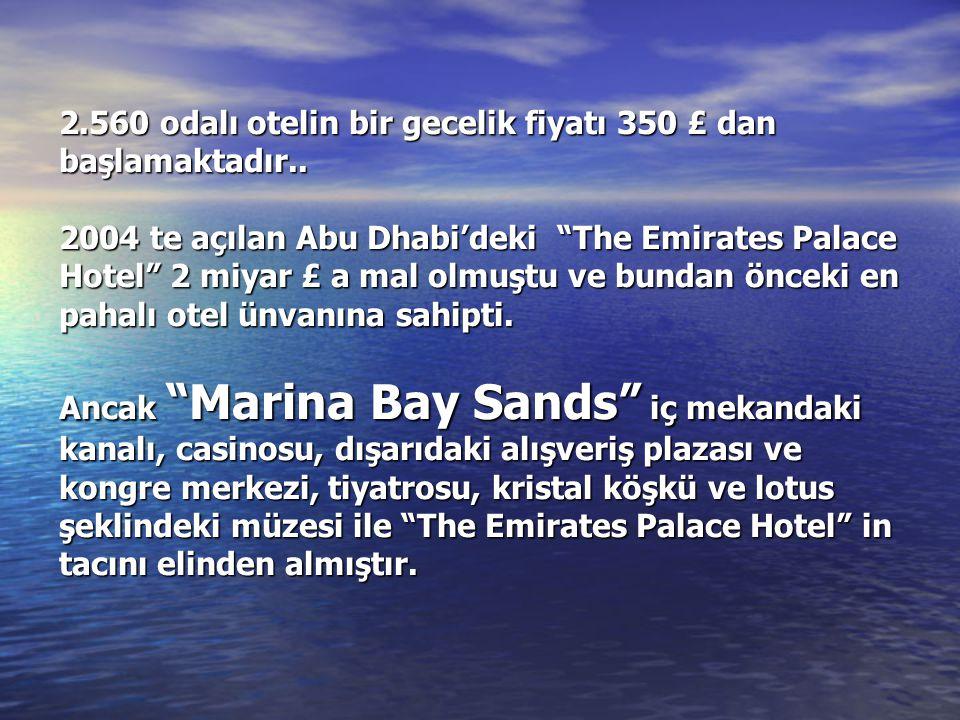 """2.560 odalı otelin bir gecelik fiyatı 350 £ dan başlamaktadır.. 2004 te açılan Abu Dhabi'deki """"The Emirates Palace Hotel"""" 2 miyar £ a mal olmuştu ve b"""