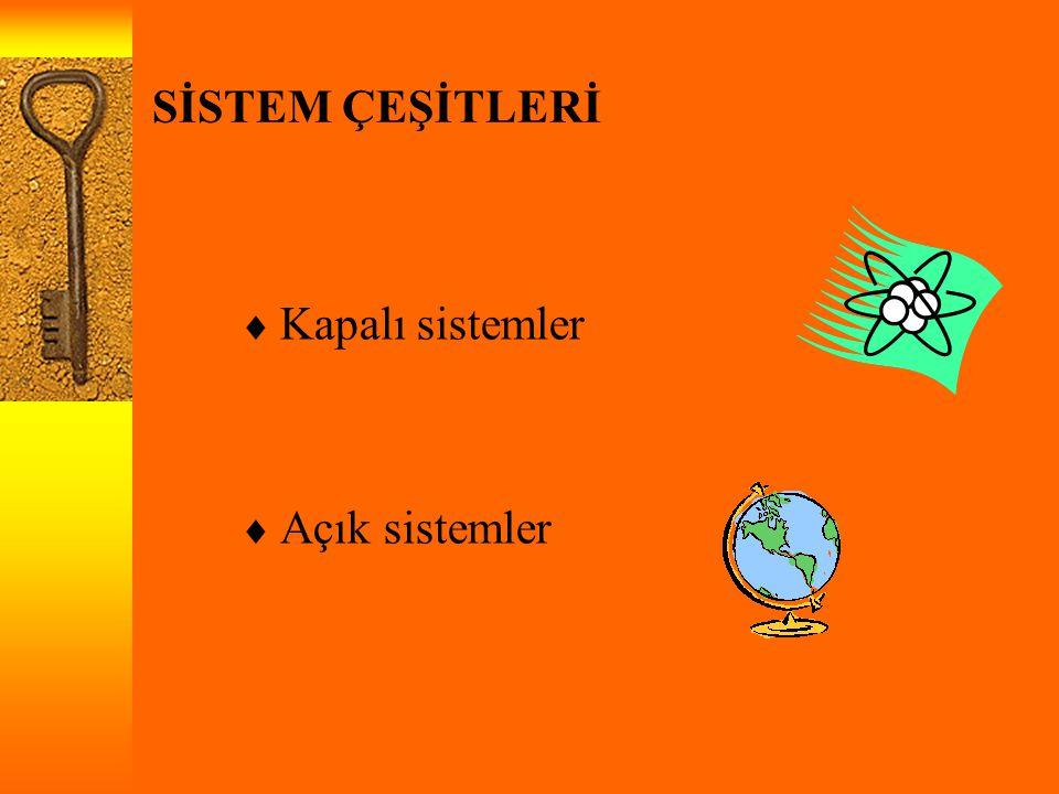 SİSTEM ÇEŞİTLERİ  Kapalı sistemler  Açık sistemler