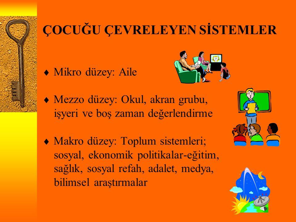 ÇOCUĞU ÇEVRELEYEN SİSTEMLER  Mikro düzey: Aile  Mezzo düzey: Okul, akran grubu, işyeri ve boş zaman değerlendirme  Makro düzey: Toplum sistemleri;