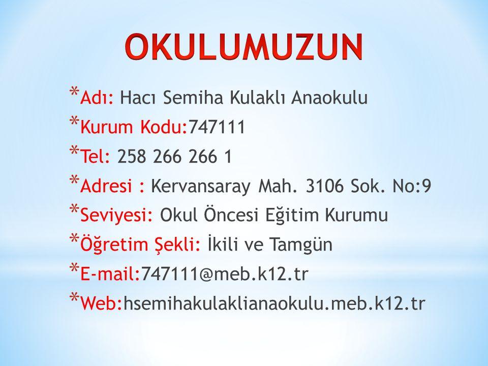 * Okulumuz İlimizin önde gelen Hayırseverlerinden İşadamı Hulusi KULAKLI'nın katkılarıyla eşi Hacı Semiha KULAKLI adına yaptırılmıştır.