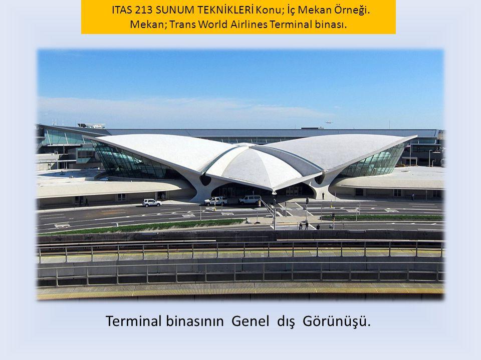 Terminal binasının Genel dış Görünüşü. ITAS 213 SUNUM TEKNİKLERİ Konu; İç Mekan Örneği. Mekan; Trans World Airlines Terminal binası.