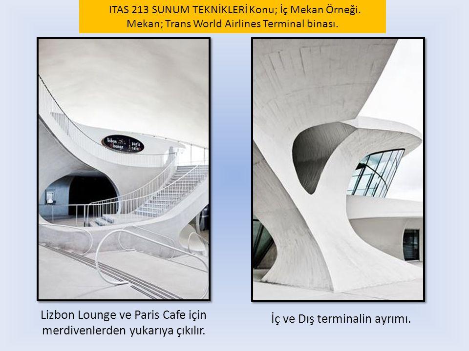 Lizbon Lounge ve Paris Cafe için merdivenlerden yukarıya çıkılır. İç ve Dış terminalin ayrımı. ITAS 213 SUNUM TEKNİKLERİ Konu; İç Mekan Örneği. Mekan;
