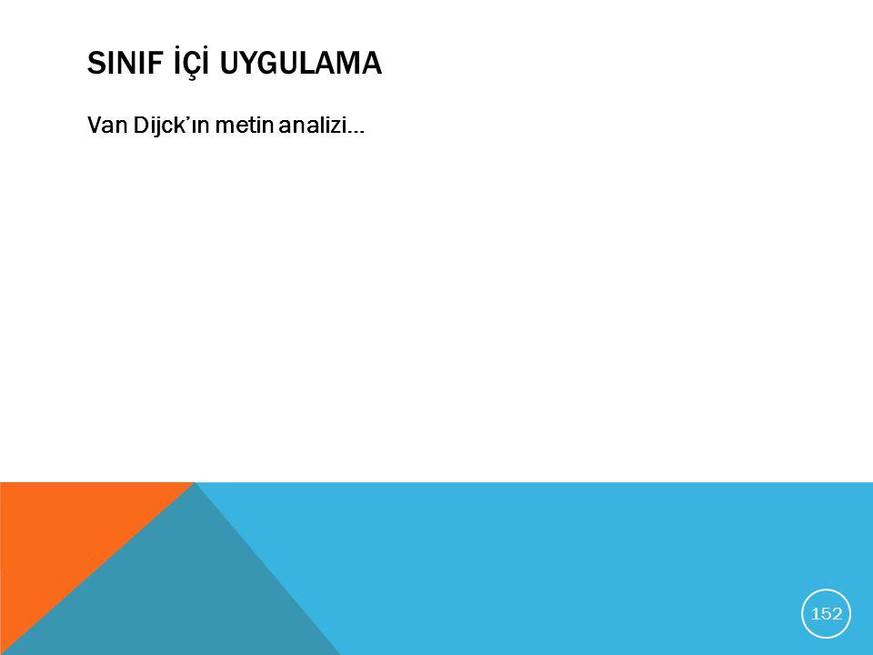 SINIF İÇİ UYGULAMA Van Dijck'ın metin analizi… 152