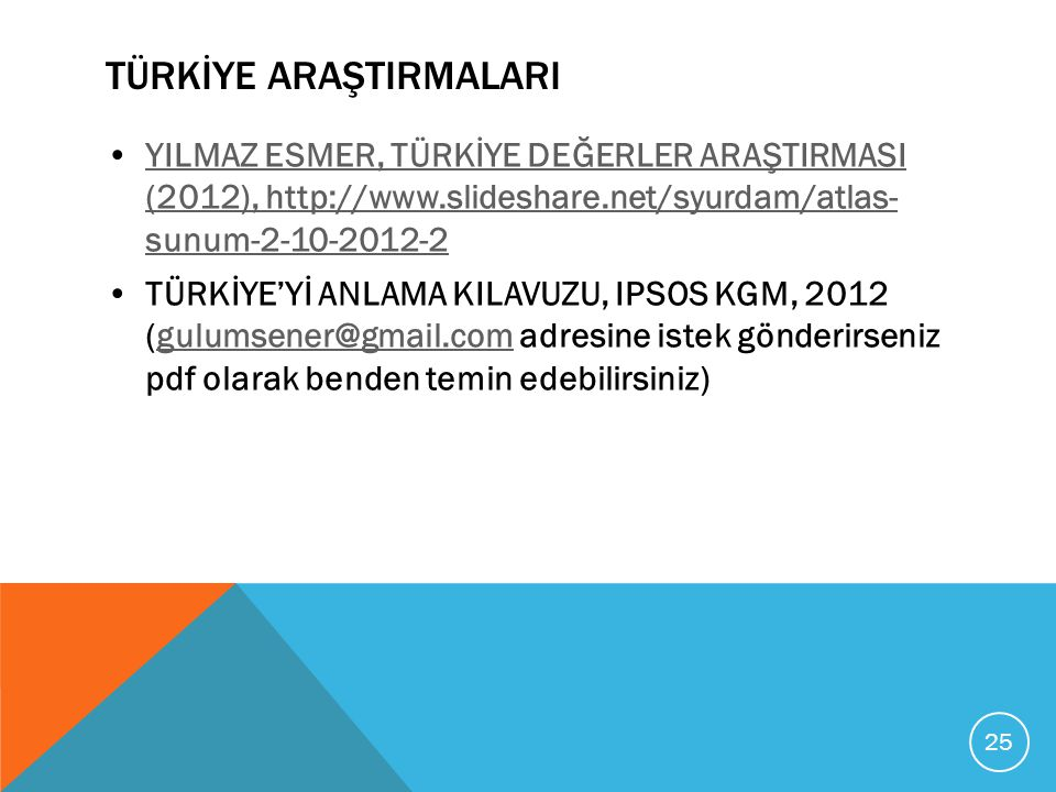 TÜRKİYE ARAŞTIRMALARI YILMAZ ESMER, TÜRKİYE DEĞERLER ARAŞTIRMASI (2012), http://www.slideshare.net/syurdam/atlas- sunum-2-10-2012-2YILMAZ ESMER, TÜRKİ
