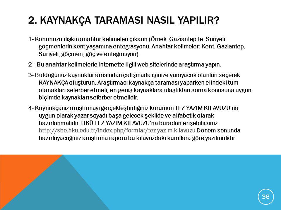 2. KAYNAKÇA TARAMASI NASIL YAPILIR? 1- Konunuza ilişkin anahtar kelimeleri çıkarın (Örnek: Gaziantep'te Suriyeli göçmenlerin kent yaşamına entegrasyon