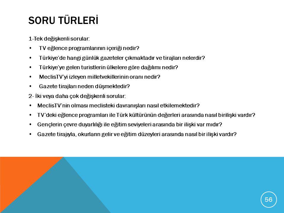 SORU TÜRLERİ 1-Tek değişkenli sorular: TV eğlence programlarının içeriği nedir? Türkiye'de hangi günlük gazeteler çıkmaktadır ve tirajları nelerdir? T