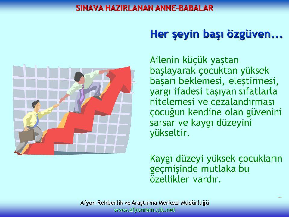 Afyon Rehberlik ve Araştırma Merkezi Müdürlüğü www.afyonram.cjb.net SINAVA HAZIRLANAN ANNE-BABALAR Her şeyin başı özgüven... Ailenin küçük yaştan başl