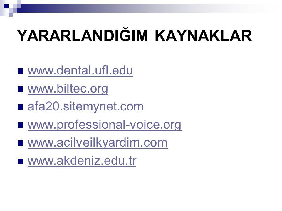 YARARLANDIĞIM KAYNAKLAR www.dental.ufl.edu www.biltec.org afa20.sitemynet.com www.professional-voice.org www.acilveilkyardim.com www.akdeniz.edu.tr