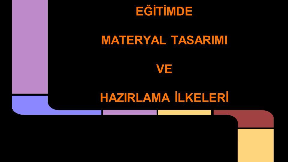Bunlar: 1.Öğretim materyalini tasarlama 2.Öğretim materyalini hazırlama Öğretim materyallerinin oluşturulmasında iki aşama çok önemlidir.