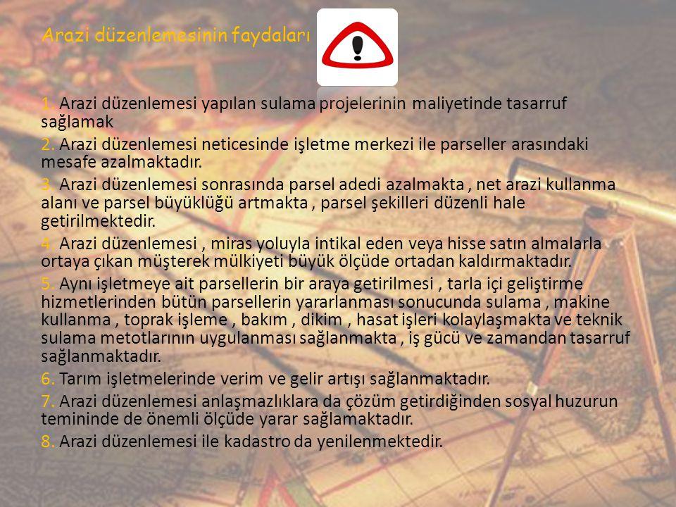Arazi düzenleme aşamaları ve bilgi sitemi 1.