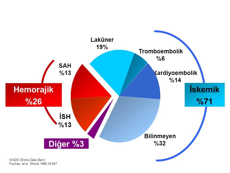 İSH %13 SAH %13 Laküner 19% Tromboembolik %6 Kardiyoembolik %14 Diğer %3 Bilinmeyen %32 İskemik %71 Hemorajik %26 NINDS Stroke Data Bank: Foulkes, et al.