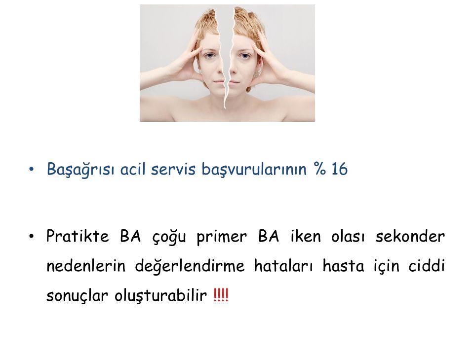 Baş ağrısı bozukluklarının uluslararası sınıflaması -2004 (IHS) Primer BA 1.Migren 2.Gerilim tipi BA 3.Küme BA ve diğer trigeminal otonomik BA 4.Diğer primer BA primer saplanıcı BA, primer öksürük BA, primer eksersiz BA, cinsel aktiviteye eşlik eden primer BA, hipnik BA, primer gökgürültüsü BA, süregen yarım baş ağrısı, yeni günlük ısrarlı BA