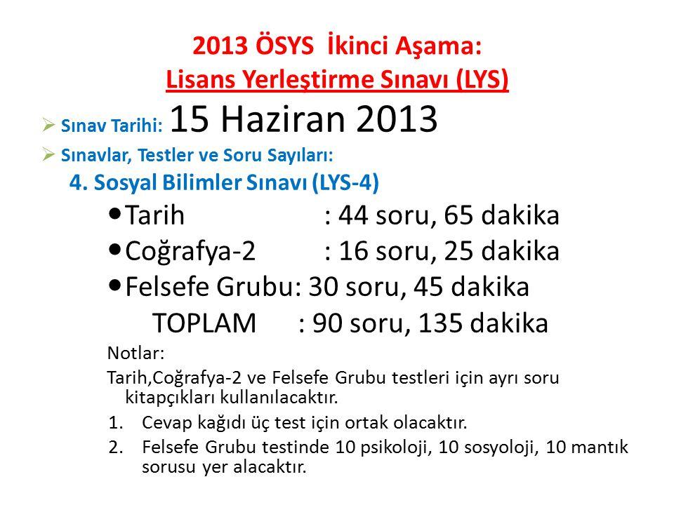 2013 ÖSYS İkinci Aşama: Lisans Yerleştirme Sınavı (LYS)  Sınav Tarihi: 15 Haziran 2013  Sınavlar, Testler ve Soru Sayıları: 4.