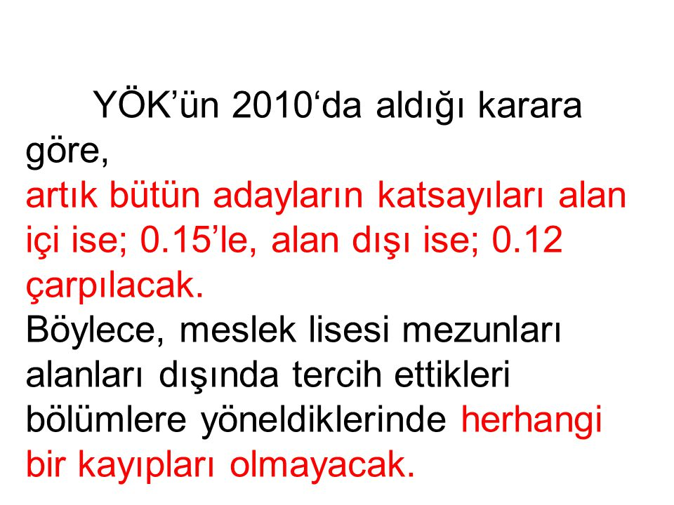 YÖK'ün 2010'da aldığı karara göre, artık bütün adayların katsayıları alan içi ise; 0.15'le, alan dışı ise; 0.12 çarpılacak.
