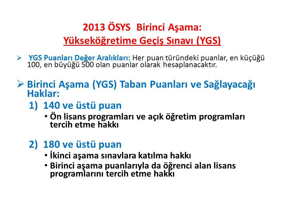 2013 ÖSYS Birinci Aşama: Yükseköğretime Geçiş Sınavı (YGS)  YGS Puanları Değer Aralıkları: Her puan türündeki puanlar, en küçüğü 100, en büyüğü 500 olan puanlar olarak hesaplanacaktır.