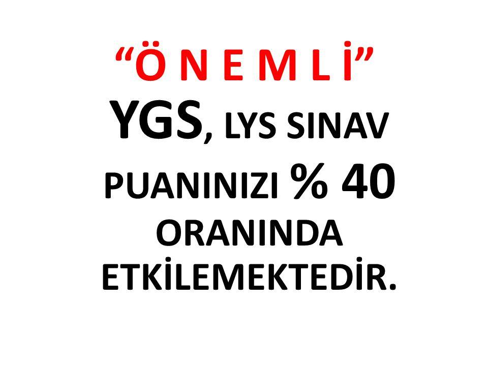 Ö N E M L İ YGS, LYS SINAV PUANINIZI % 40 ORANINDA ETKİLEMEKTEDİR.