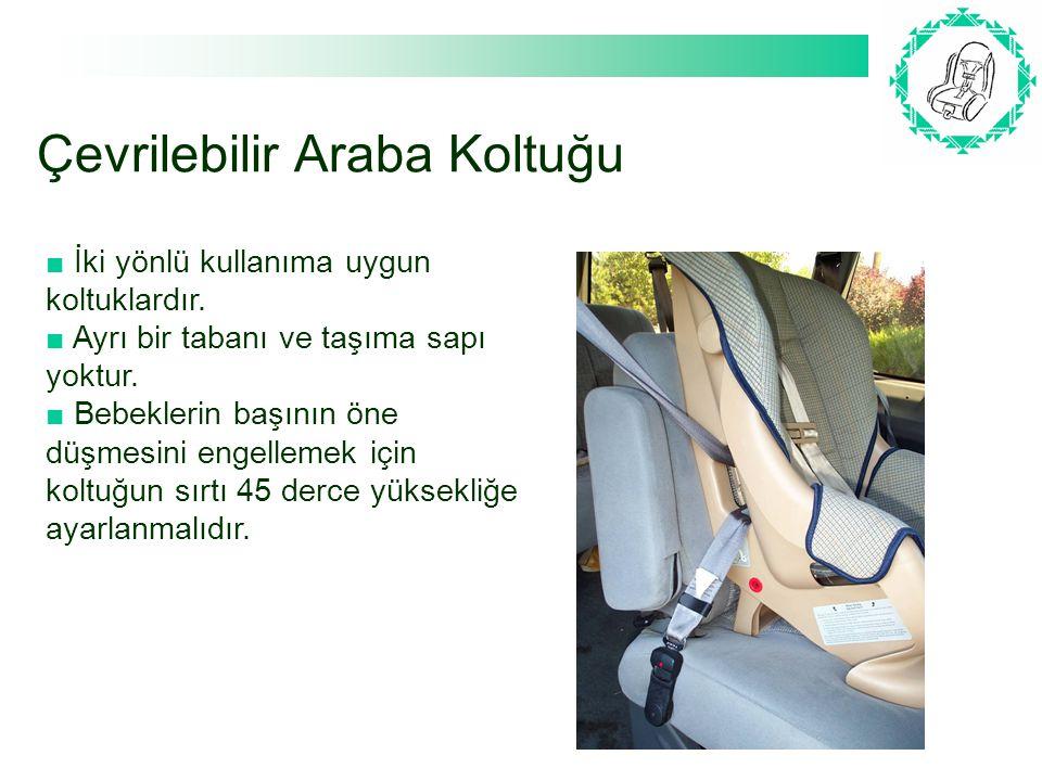 Çevrilebilir Araba Koltuğu ■ İki yönlü kullanıma uygun koltuklardır. ■ Ayrı bir tabanı ve taşıma sapı yoktur. ■ Bebeklerin başının öne düşmesini engel